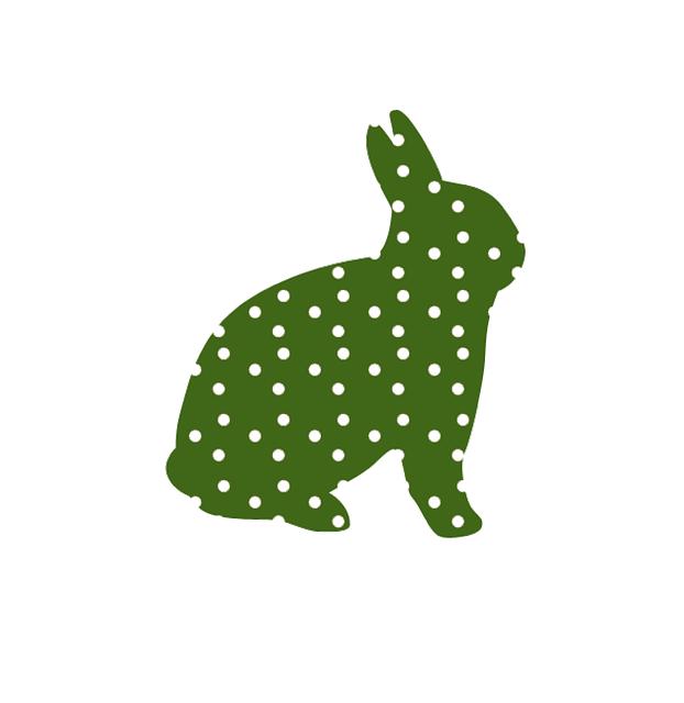 Osterhase grün mit weißen Punkten